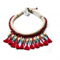 Handmade boho necklace with red and tourquaz Swarovski elements