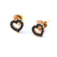 Gold 14K handcrafted black earrings with black sapphires