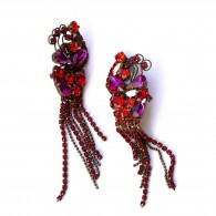 Handmade Chandellier earrings with purple and red Swarovski