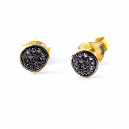 Gold 14K handcrafted earrings with black sapphires