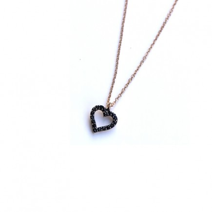 Rose Gold 14K heart with black sapphires