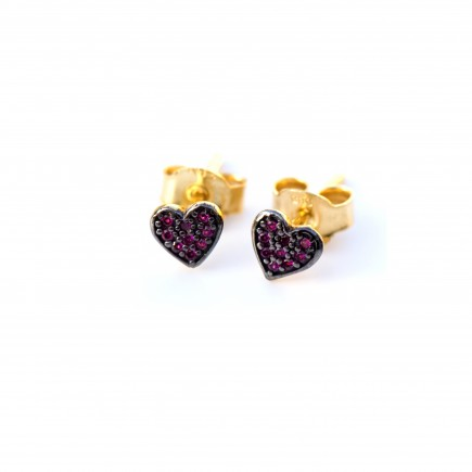 Gold 14K handcrafted hearts earrings with black sapphires and amethyst