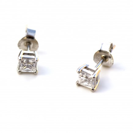 White Gold 14K earrings with white zircon